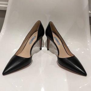 "Prada black leather NWT D'Orsay 3.5"" pump. 9"